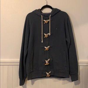 Tommy Hilfiger, zipper/button, gray, hoodie, M